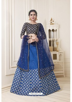 Dark Blue Heavy Embroidered Party Wear Designer Lehenga Choli