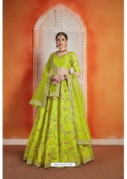 Parrot Green Heavy Embroidered Party Wear Designer Lehenga Choli