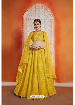Yellow Heavy Embroidered Party Wear Designer Lehenga Choli