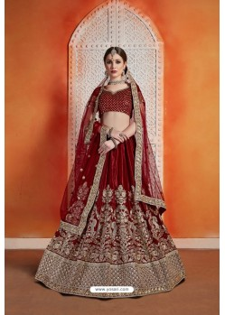 Maroon Heavy Embroidered Party Wear Designer Lehenga Choli