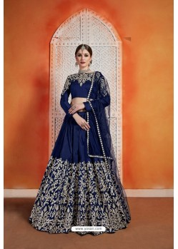 Navy Blue Heavy Embroidered Party Wear Designer Lehenga Choli