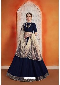 Navy Blue Heavy Embroidered Party Wear Designer Lehenga Choli