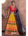 Yellow Heavy Embroidered Banarasi Silk Designer Lehenga Choli