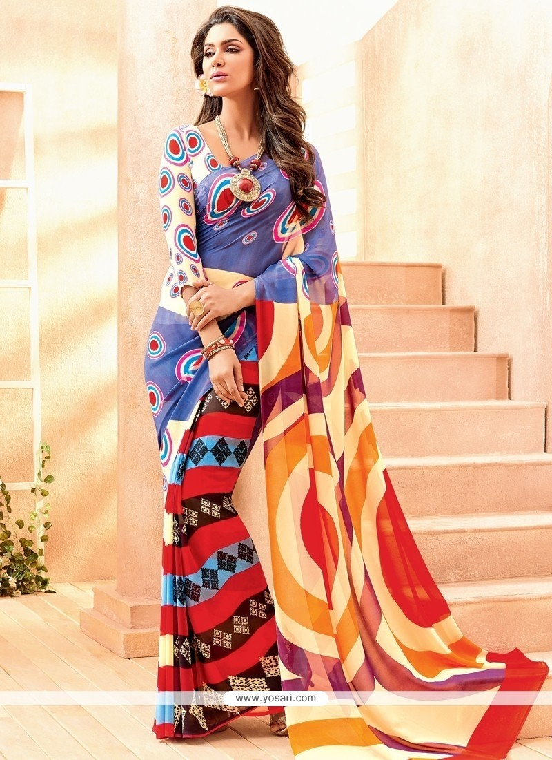Resplendent Lace Work Multi Colour Casual Saree