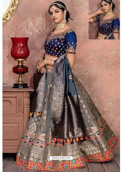 Grey Heavy Embroidered Banarasi Silk Designer Lehenga Choli