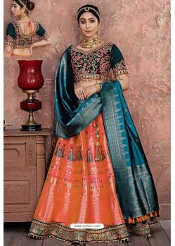Orange Heavy Embroidered Banarasi Silk Designer Lehenga Choli