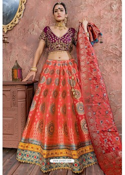 Dark Peach Heavy Embroidered Banarasi Silk Designer Lehenga Choli
