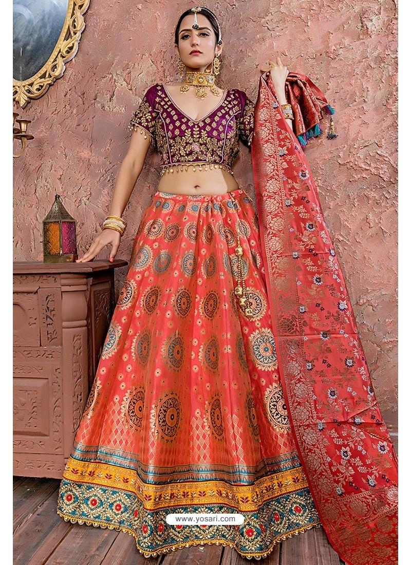 Dark Peach Heavy Embroidered Banarasi Silk Designer Lehenga Choli