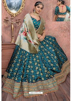 Teal Heavy Embroidered Banarasi Silk Designer Lehenga Choli