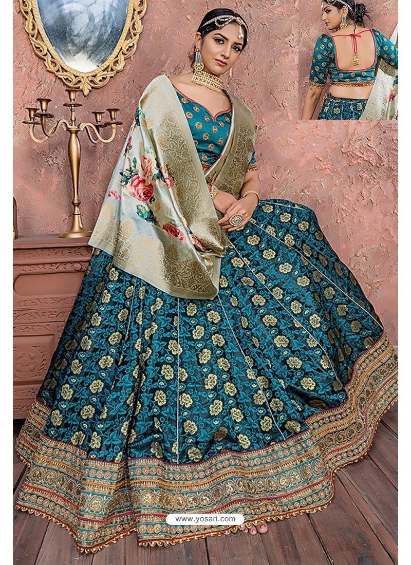 Teal Heavy Embroidered Banarasi Silk Designer Lehenga Choli