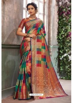 Ravishing Multi Colour Designer Party Wear Art Silk Sari