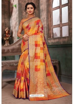 Fascinating Multi Colour Designer Party Wear Art Silk Sari