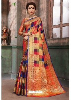 Dashing Multi Colour Designer Party Wear Art Silk Sari