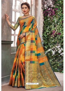 Ravishing Multi Colour Designer Party Wear Art Silk Sari