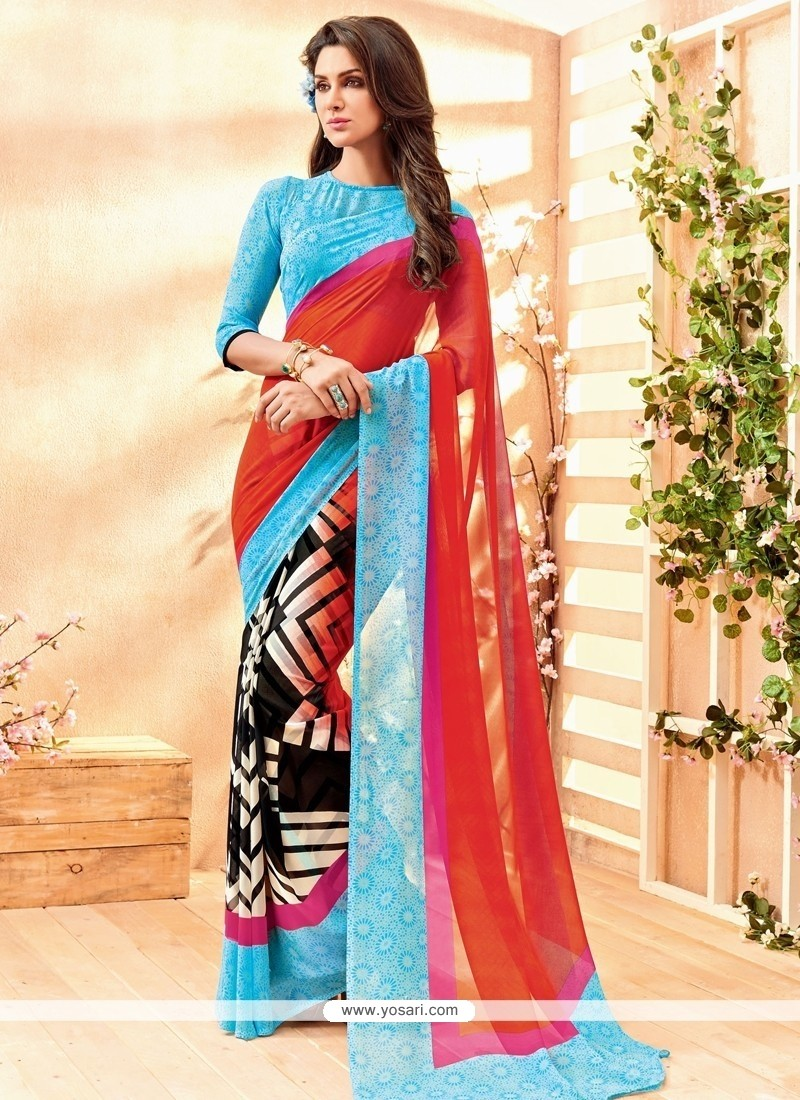 Exciting Georgette Lace Work Casual Saree