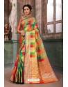 Fascinating Multi Colour Designer Party Wear Art Silk Sari