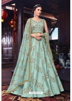 Grayish Green Heavy Embroidered Gown Style Designer Anarkali Suit