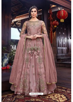 Old Rose Heavy Embroidered Gown Style Designer Anarkali Suit