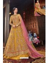 Mustard Heavy Embroidered Gown Style Designer Anarkali Suit