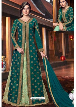 Teal Heavy Embroidered Gown Style Designer Anarkali Suit