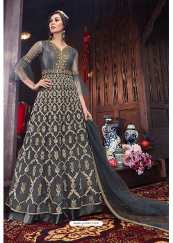 Grey Heavy Embroidered Gown Style Designer Anarkali Suit