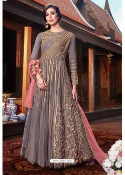 Light Brown Heavy Embroidered Gown Style Designer Anarkali Suit