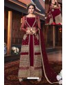 Maroon Heavy Embroidered Gown Style Designer Anarkali Suit