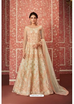 Light Beige Heavy Embroidered Gown Style Designer Anarkali Suit
