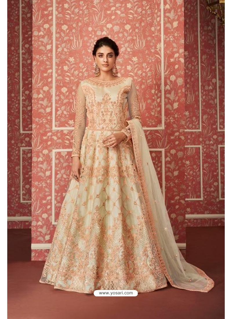 Light Beige Heavy Embroidered Gown Style Designer Anarkali Suit