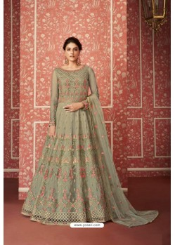 Olive Green Heavy Embroidered Gown Style Designer Anarkali Suit