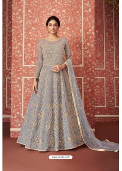 Aqua Grey Heavy Embroidered Gown Style Designer Anarkali Suit