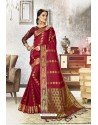 Maroon Traditional Party Wear Embroidered Kanjeevaram Art Silk Sari