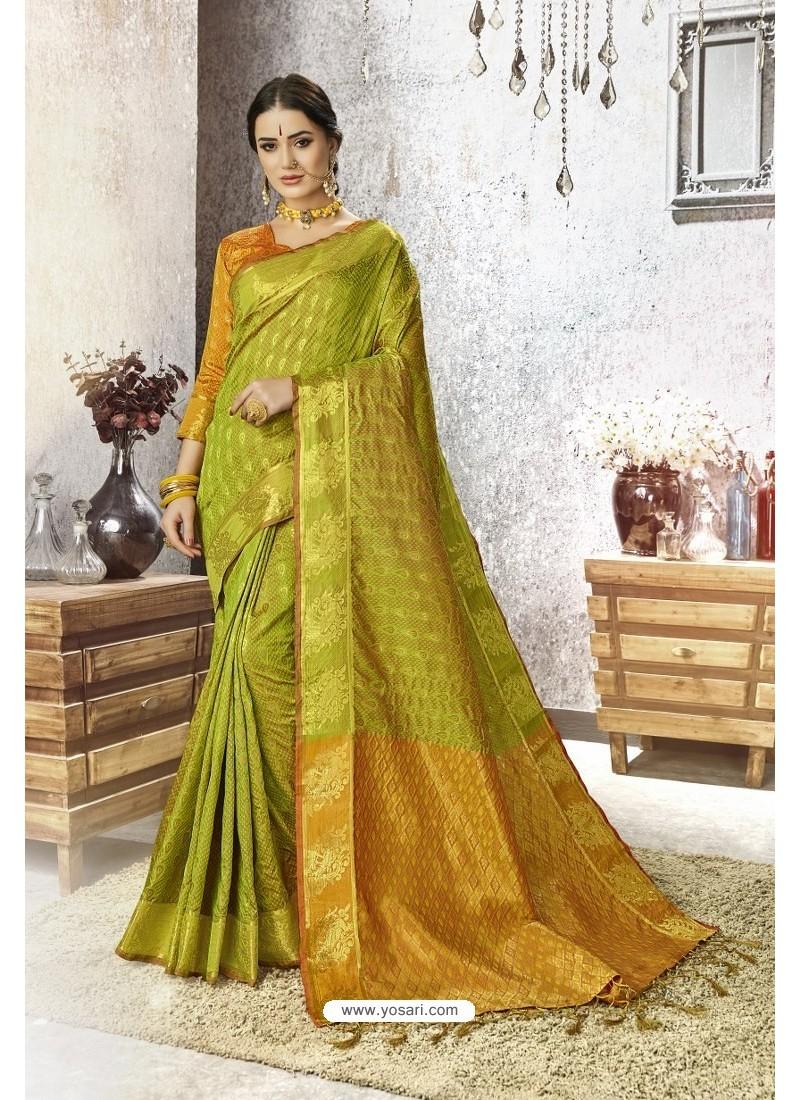 Parrot Green Traditional Party Wear Embroidered Kanjeevaram Art Silk Sari