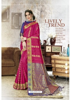 Rani Traditional Party Wear Embroidered Kanjeevaram Art Silk Sari