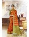 Orange Traditional Party Wear Embroidered Kanjeevaram Art Silk Sari