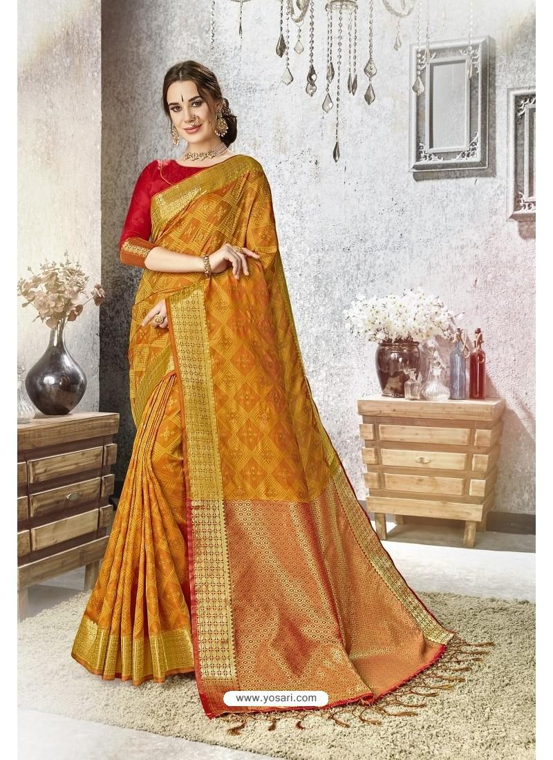 Mustard Traditional Party Wear Embroidered Kanjeevaram Art Silk Sari