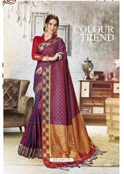Deep Wine Traditional Party Wear Embroidered Kanjeevaram Art Silk Sari
