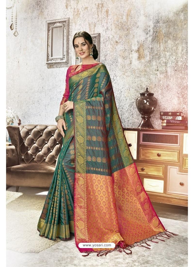 Dark Green Traditional Party Wear Embroidered Kanjeevaram Art Silk Sari