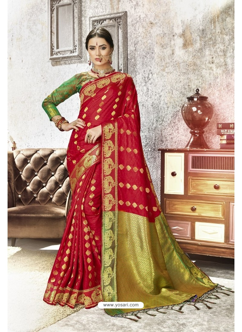 Red Traditional Party Wear Embroidered Kanjeevaram Art Silk Sari