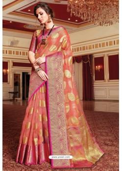 Peach Designer Party Wear Handloom Art Silk Sari