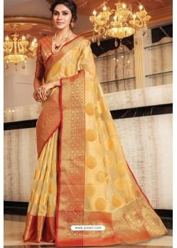 Cream Designer Party Wear Handloom Art Silk Sari