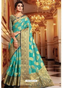 Turquoise Designer Party Wear Handloom Art Silk Sari