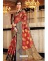 Red Designer Party Wear Handloom Art Silk Sari
