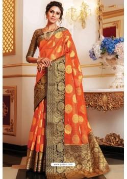 Orange Designer Party Wear Handloom Art Silk Sari