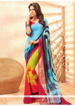 Splendid Multi Colour Faux Chiffon Casual Saree