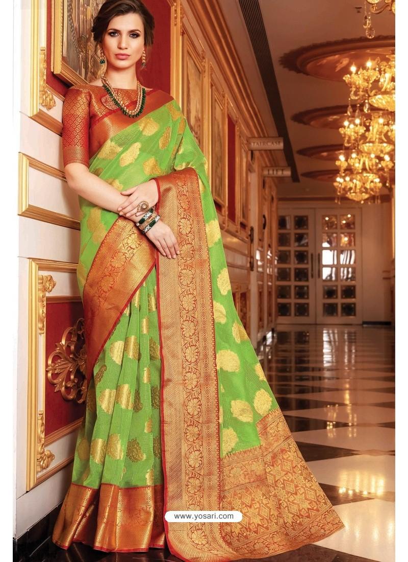 Green Designer Party Wear Handloom Art Silk Sari