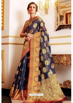 Dark Blue Designer Party Wear Handloom Art Silk Sari