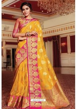 Yellow Designer Party Wear Handloom Art Silk Sari