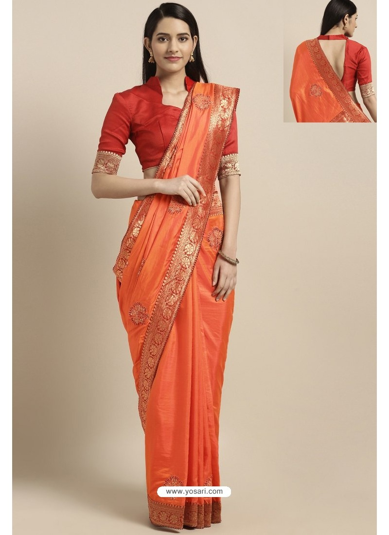 Orange Party Wear Poly Silk Embroidered Sari