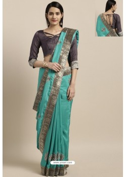 Sky Blue Party Wear Poly Silk Embroidered Sari